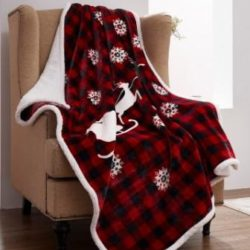 DTR10070 Buffalo Plaid Christmas Eve Sherpa Throw